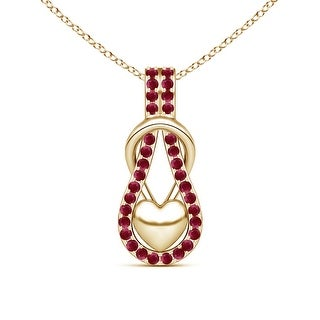 Angara Ruby Studded Infinity Knot Pendant with Puffed Heart