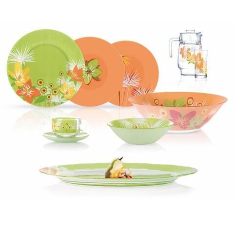 Luminarc Pop Flowers Green Mix Dinnerware 46 Piece Set for 6