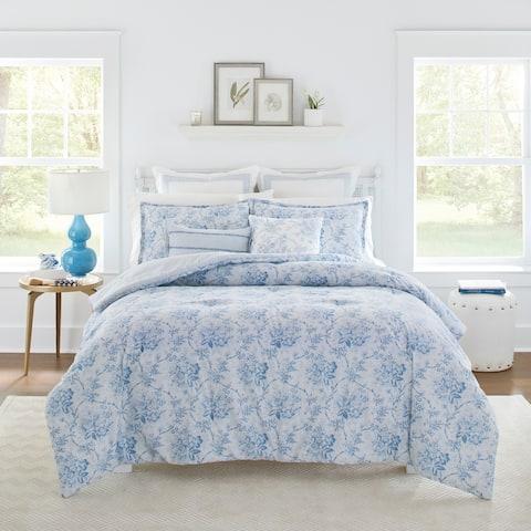 Laura Ashley Nina Blue Cotton Comforter Bonus Set