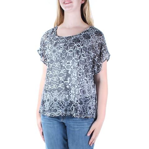 STYLE & CO Womens Black Rhinestone Printed Dolman Sleeve Jewel Neck Top Size: M