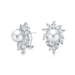 Bling Jewelry Sunburst Imitation Pearl CZ Omega Earrings Rhodium Plated Brass