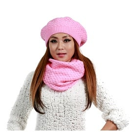 2-Piece Set Winter Knit Hat & Infinity Scarf, Many Colors