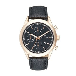 Elliot Genuine Grained Leather Watch With Rose Gold Stainless Steel Case & Black Dial