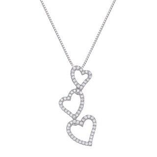 1/5 ct Diamond Triple Heart Pendant in 14K White Gold