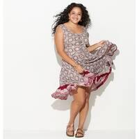 LORALETTE Women's  Lace Up Handkerchief Dress - Red Print