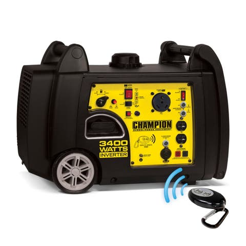 Champion 100261 3100 - 3400 watt Portable Gas-Powered Remote Start Inverter Generator with RV Ready CARB