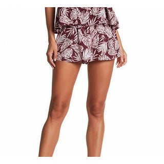 Abound NEW Red Leaf Print Small S Elastic Waist Pleated Pull-On Shorts