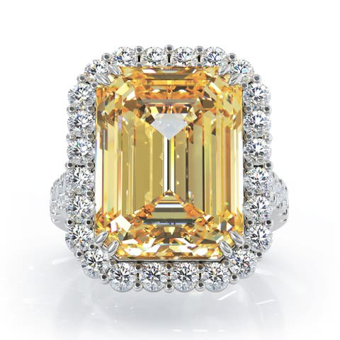14K Gold Emerald Cut Citrine & Diamond Ring (1.35 CT, G-H, SI2-I1) by Noray Designs