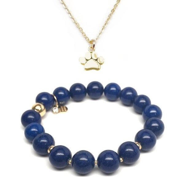 Blue Jade Bracelet & Paw Gold Charm Necklace Set