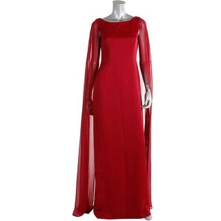 Adrianna Papell Womens Crepe Chiffon Cape Evening Dress - 4