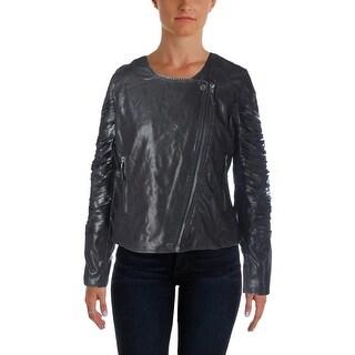 Blank NYC Womens Motorcycle Jacket Faux Leather Fringe