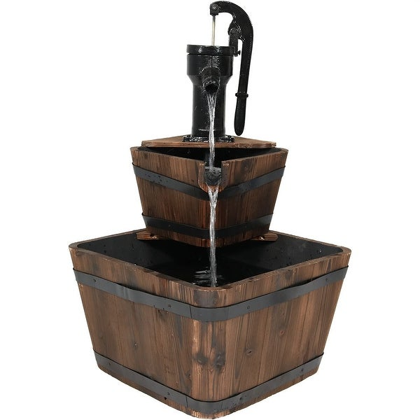 Sunnydaze Rustic Wooden Bucket Outdoor Garden Water Fountain, 34 Inch Tall, Includes Electric Submersible Pump