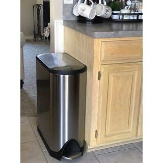 simplehuman butterfly step trash can fingerprint proof brushed stainless steel 45 liters 12 5. Black Bedroom Furniture Sets. Home Design Ideas