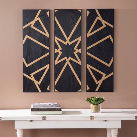 Harper Blvd Meleane Contemporary Black Wood Wall Panel (Set of 3)