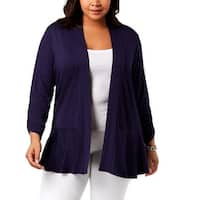 NY Collection Womens Plus Cardigan Top Open Front Peplum