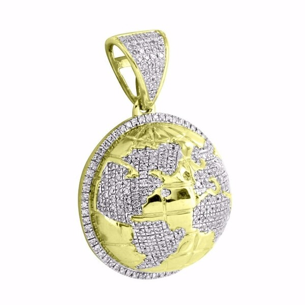"10k Yellow Gold World Globe Pendant 1.2"" Mini Charm 0.62 Ct Real Diamonds Mens"