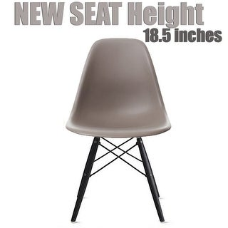 2xhome Grey - Eames Style Bedroom & Dining Room Side Ray Chair with Eiffel Dark Wood Dowel Legs