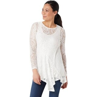 Link to Attitudes by Renee Womens Ruffle Lace Tunic and Tank X-Large Ivory A350623 Similar Items in Loungewear