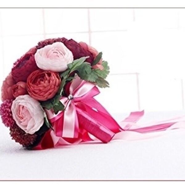 444876f550 20PCS Continental American Designe high quality handmade red Camellia  sasanqua flowers Bridal toss bouquet Wedding maid of honor