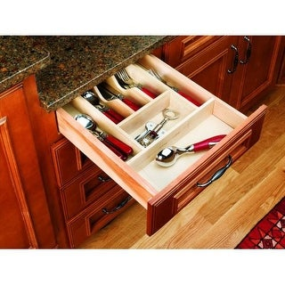 Rev-A-Shelf 4WCT-1 4WCT Series 14-5/8 Inch Wide Trimmable Cutlery Tray with 7 Compartments