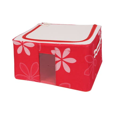 Home Flower Print Foldable Cosmetics Socks Storage Box Red 30cm x 23cm x 16cm - red flower - Red Flower