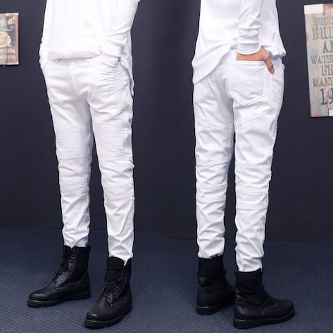 Men Ripped Slim Straight Fit Biker Jeans With Zipper