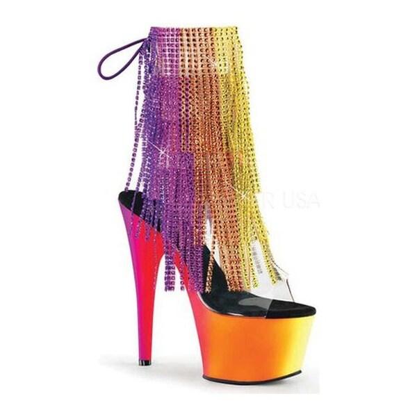 921d07aafb7 Shop Pleaser Women s Rainbow 1017RSF-7 Fringed Open-Toe Bootie Clear ...