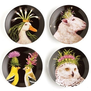 "Wild & Wooly Animal Plates - Vicki Sawyer - 7"" Diameter - Bone China - Set of 4"