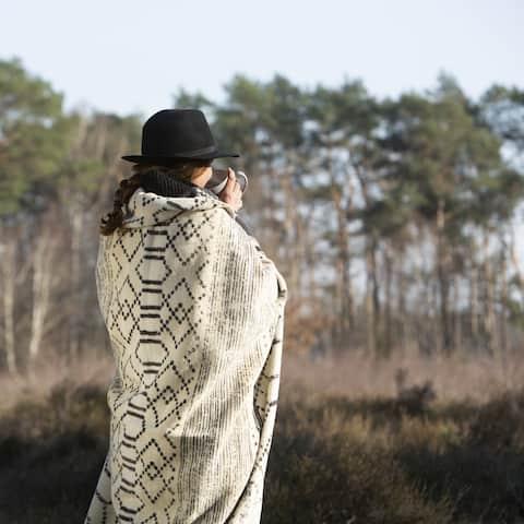 Striking Gabbeh Anthrazite Cream Cotton Blend Throw Blanket by IBENA