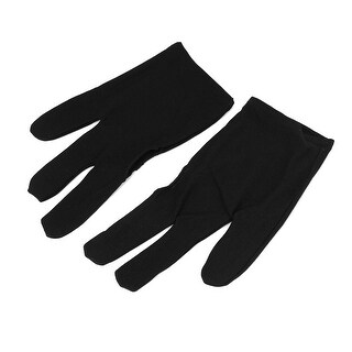Sport Billiard 3 Fingers Elastic Gloves Black Pair for Pool Cue