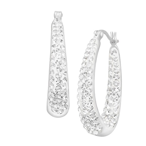 7911ee93b Shop Crystaluxe Oval Hoop Earrings with Swarovski Elements Crystals in  Sterling Silver - White - Free Shipping On Orders Over $45 - Overstock -  13886172