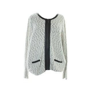 Alfani Plus Size White Pleather-Trim Zip-Up Jacket 3X