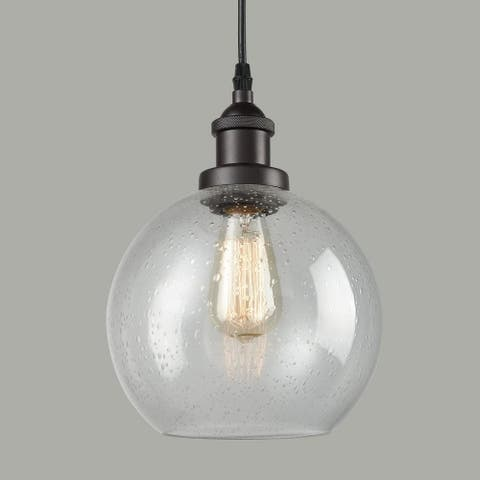 Bellaria Industrial Vintage Bubble Glass Pendant Light Metal ORB Hanging Lighting