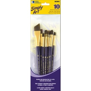 Simply Art Brown Nylon Brush Set 10/Pkg-