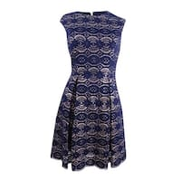 Vince Camuto Women's Lace Fit & Flare Dress - Navy/Gold