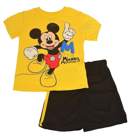Disney Little Boys Yellow Mickey Mouse Cartoon T-Shirt 2 Pc Shorts Set