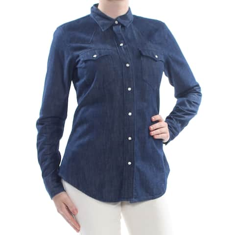 RALPH LAUREN Womens Blue Pocketed Denim Cuffed Wear To Work Top Size: M
