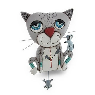Allen Designs Mouser Whimsical Gray Cat Pendulum Wall Clock - 15 X 8.5 X 2.25 inches