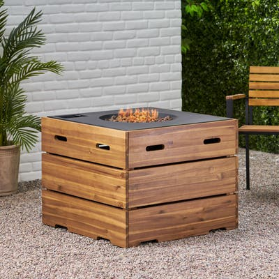 """Rodeo Outdoor 40,000 BTU Square Fire Pit by Christopher Knight Home - 31.25"""" W x 31.25"""" D x 24.50"""" H"""