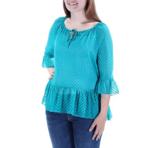 KENSIE Womens Teal Textured Tie Chevron Dolman Sleeve Jewel Neck Top Size: L