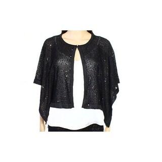 Alfani NEW Black Womens Size XL Sequined Flyaway Cardigan Sweater