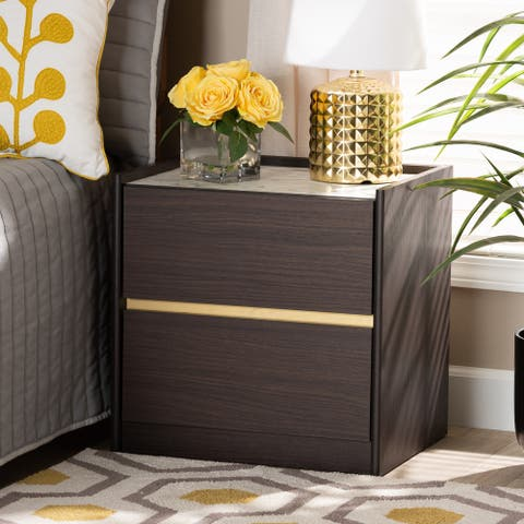 Walker Modern Dark Brown and Gold Finished Wood Nightstand