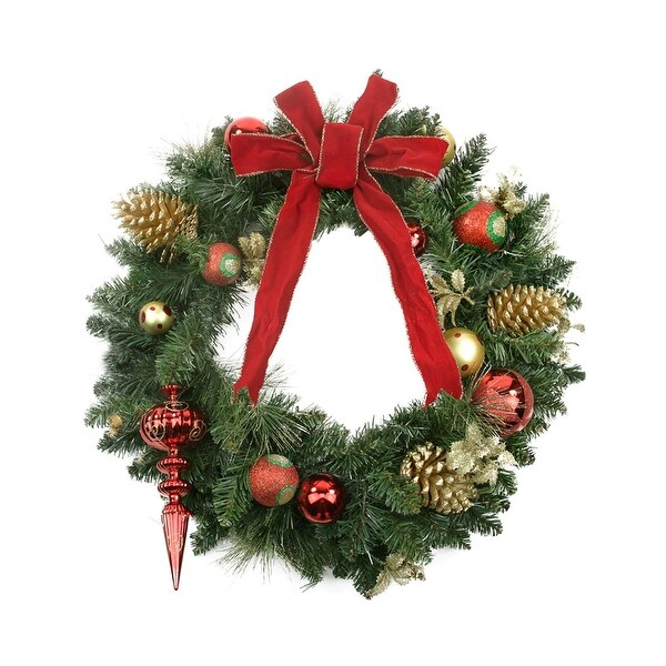 """24"""" Pre-Decorated Red and Gold Ball Ornaments, Pine Cones & Bow Artificial Christmas Wreath - Unlit"""