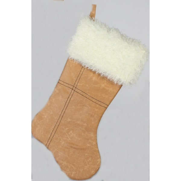 "17"" Distressed Tan Leather with Shag Cuff Christmas Stocking - brown"