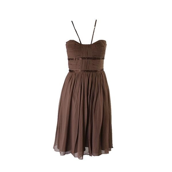 8bdab79ce Shop Laundry By Shelli Segal Brown Pleated Beaded Chiffon Dress 12 ...