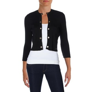 Calvin Klein Womens Shrug Sweater Ribbed Knit Long Sleeves