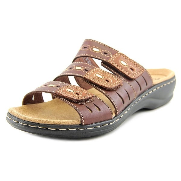Clarks Narrative Leisa Broach Women Open Toe Leather Brown Slides Sandal