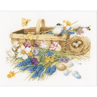 """LanArte Spring Flowers On Cotton Counted Cross Stitch Kit-15.5""""X12.5"""" 27 Count"""