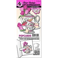 Art Impressions Popcard Clear Stamp & Die Set-Tea Party