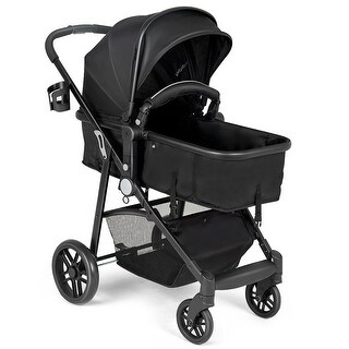 Costway 2 In1 Foldable Baby Stroller Kids Travel Newborn Infant Buggy Pushchair Black
